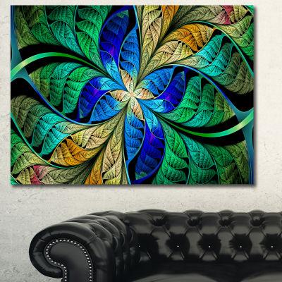 Designart Blue Green Fractal Flower Petals Abstract Canvas Art Print - 3 Panels