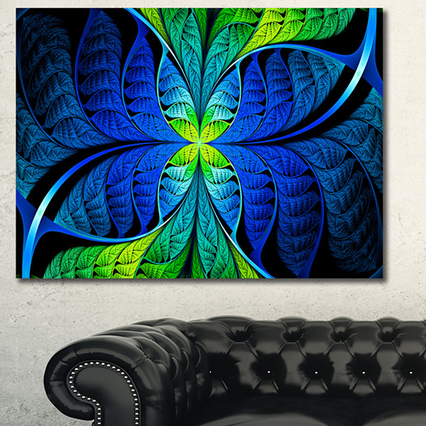 Designart Blue Green Fractal Stained Glass Abstract Canvas Art Print - 3 Panels