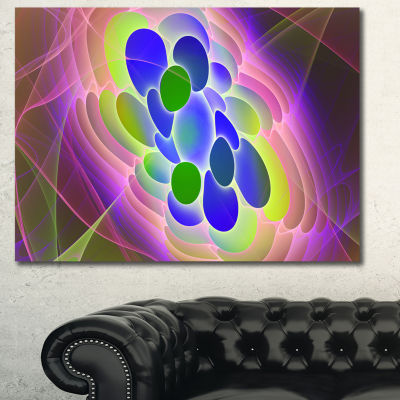 Designart Blue Green Fractal Virus Design AbstractArt On Canvas - 3 Panels