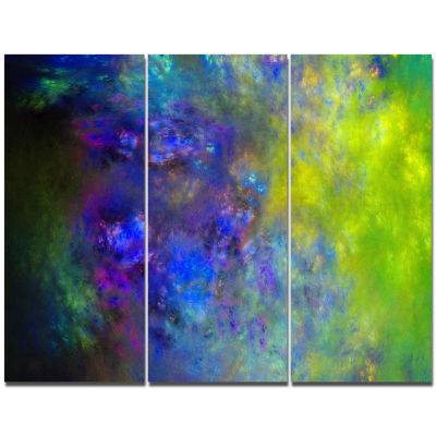 Designart Blue Green Starry Fractal Sky Abstract Canvas Art Print - 3 Panels