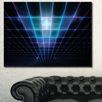 Designart Blue Laser Protective Grids Abstract Canvas Art Print
