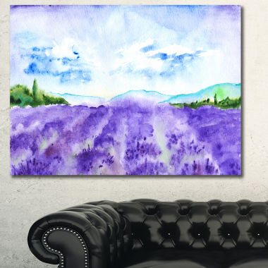 Designart Blue Lavender Fields Watercolor Landscape Canvas Art Print