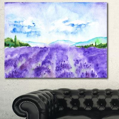 Designart Blue Lavender Fields Watercolor Landscape Canvas Art Print - 3 Panels
