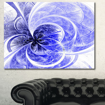 Designart Blue Light Fractal Flower Pattern Abstract Canvas Art Print - 3 Panels
