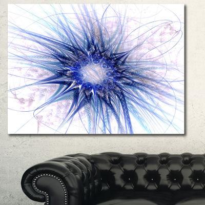 Designart Blue Light Fractal Flower Texture Abstract Canvas Art Print