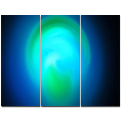 Designart Blue Misty Sphere On Black Abstract Canvas Art Print - 3 Panels