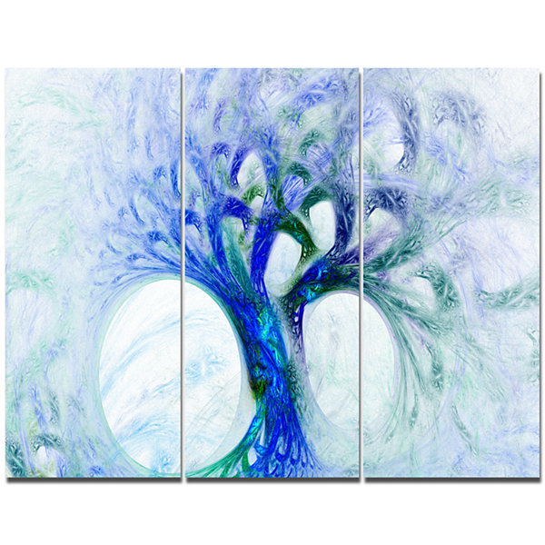 Designart Blue Mystic Psychedelic Tree Abstract Canvas Art Print - 3 Panels