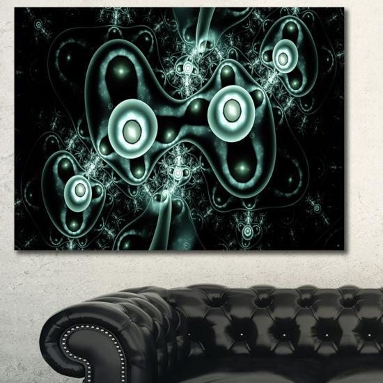 Designart Blue On Black 3D Surreal Design AbstractCanvas Art Print