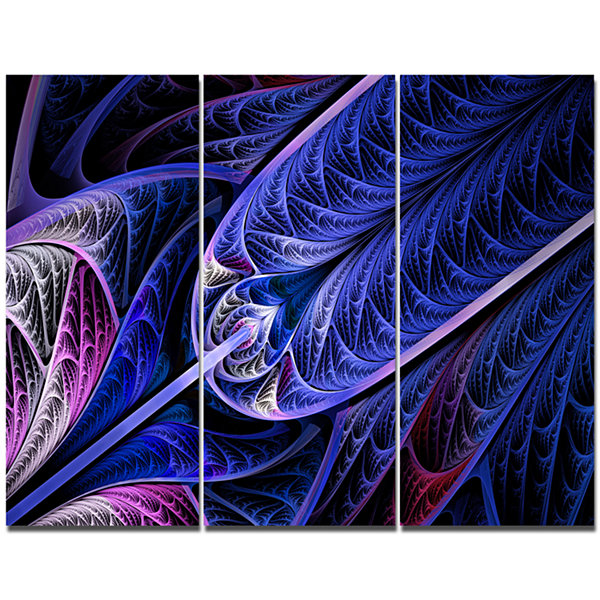 Designart Blue On Black Fractal Stained Glass Abstract Canvas Art Print - 3 Panels
