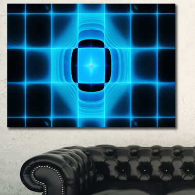 Designart Blue On Black Thermal Infrared Visor Abstract Canvas Art Print