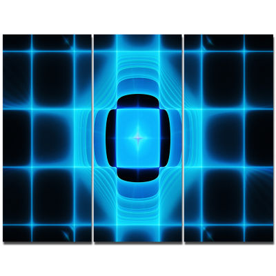 Designart Blue On Black Thermal Infrared Visor Abstract Canvas Art Print - 3 Panels