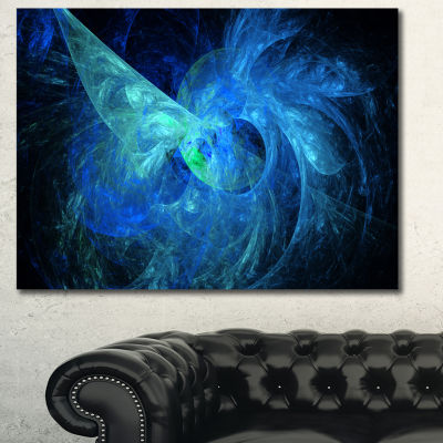 Designart Blue On Dark Fractal Illustration Abstract Canvas Art Print - 3 Panels
