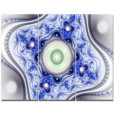 Designart Blue On White Pattern With Circles Abstract Canvas Wall Art - 3 Panels