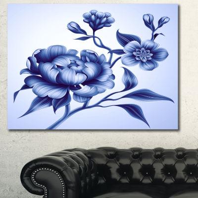 Designart Blue Peony Rose And Sakura Flowers Floral Canvas Art Print - 3 Panels