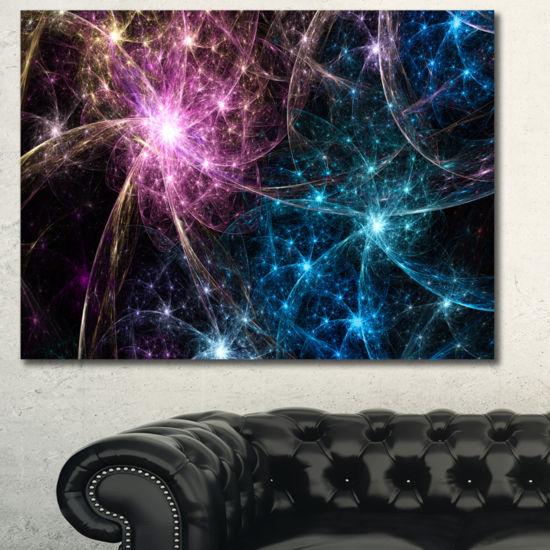 Designart Blue Pink Colorful Fireworks Abstract Art On Canvas
