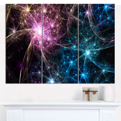 Designart Blue Pink Colorful Fireworks Abstract Art On Canvas - 3 Panels