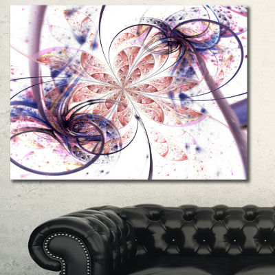 Designart Blue Pink Fractal Flower Pattern Abstract Canvas Art Print - 3 Panels