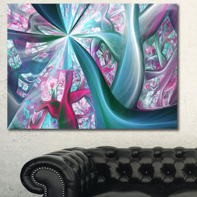 Designart Blue Pink Fractal Plant Stems AbstractCanvas Art Print - 3 Panels