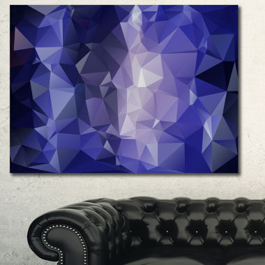 Designart Blue Polygonal Mosaic Pattern Abstract Canvas Art Print