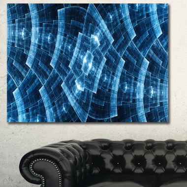 Designart Blue Protective Metal Grids Abstract Canvas Art Print
