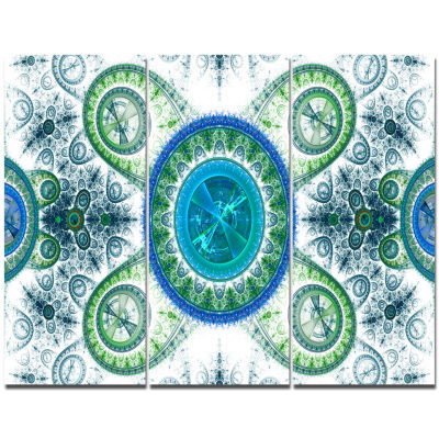 Designart Blue Psychedelic Relaxing Art Abstract Canvas Art Print - 3 Panels