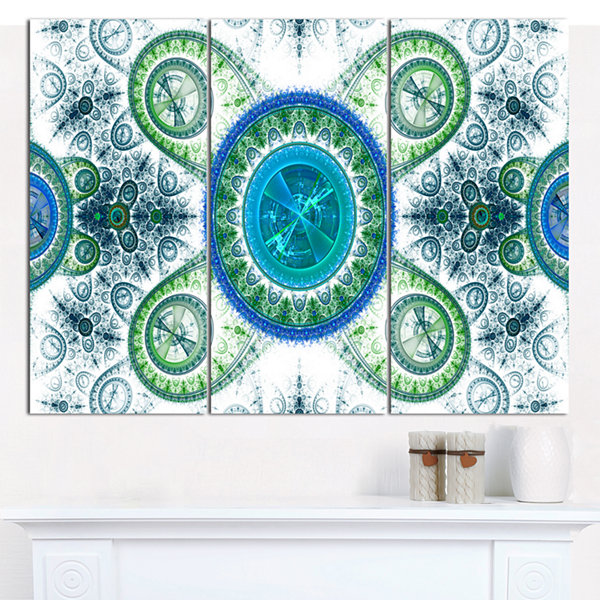 Design Art Blue Psychedelic Relaxing Art AbstractCanvas Art Print - 3 Panels