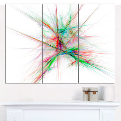 Designart Blue Red Spectrum Of Light Abstract Canvas Art Print - 3 Panels