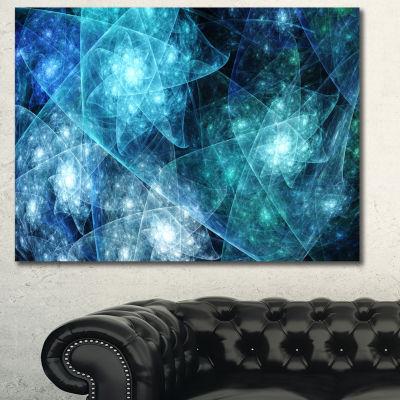 Designart Blue Rotating Polyhedron Abstract CanvasArt Print - 3 Panels