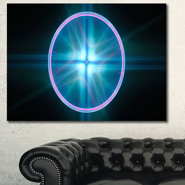 Designart Blue Sphere Of Cosmic Mind Abstract Canvas Art Print - 3 Panels