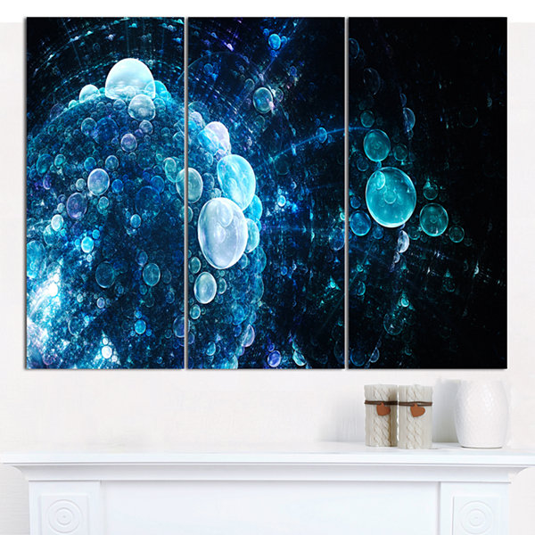Designart Blue Spherical Water Drops Floral CanvasArt Print - 3 Panels