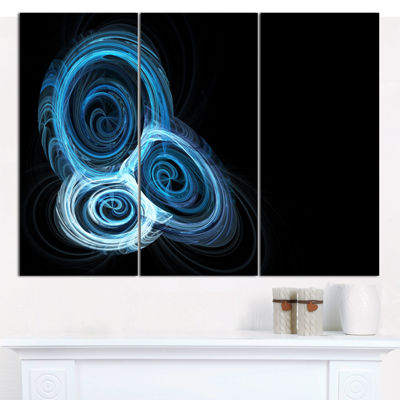 Designart Blue Spiral Nebula On Black Abstract Canvas Art Print - 3 Panels