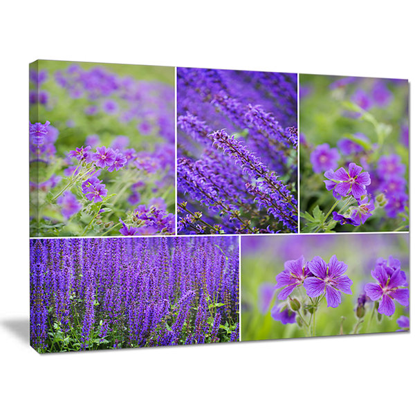 Designart Blue Spring Flowers Collage Floral Canvas Art Print