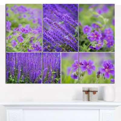 Designart Blue Spring Flowers Collage Floral Canvas Art Print - 3 Panels