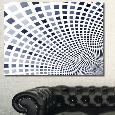 Designart Blue Square Pixel Mosaic Illustration Abstract Canvas Art Print - 3 Panels