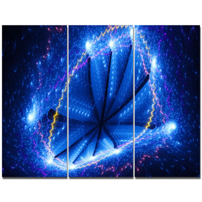 Designart Blue Star Clusters Abstract Canvas WallArt - 3 Panels