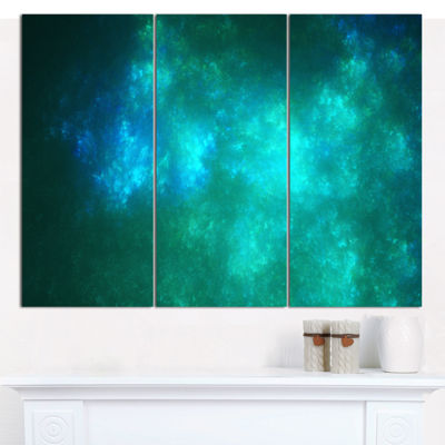 Designart Blue Starry Fractal Sky Abstract CanvasArt Print - 3 Panels