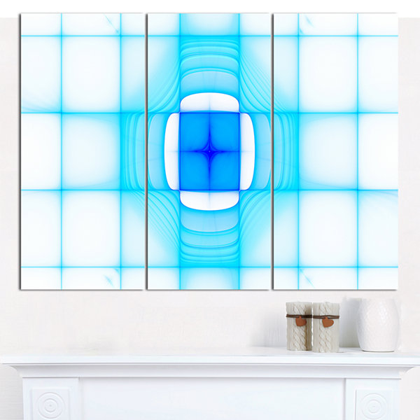 Designart Blue Thermal Infrared Visor Abstract Canvas Art Print - 3 Panels
