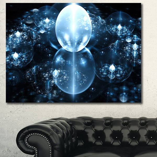 Designart Blue Water Drops On Mirror Abstract Canvas Art Print - 3 Panels