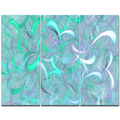 Designart Blue Watercolor Fractal Pattern AbstractArt On Canvas - 3 Panels