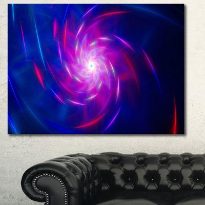 Designart Blue Whirlpool Fractal Spirals AbstractArt On Canvas - 3 Panels