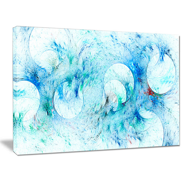 Designart Blue White Fractal Glass Texture Abstract Canvas Art Print