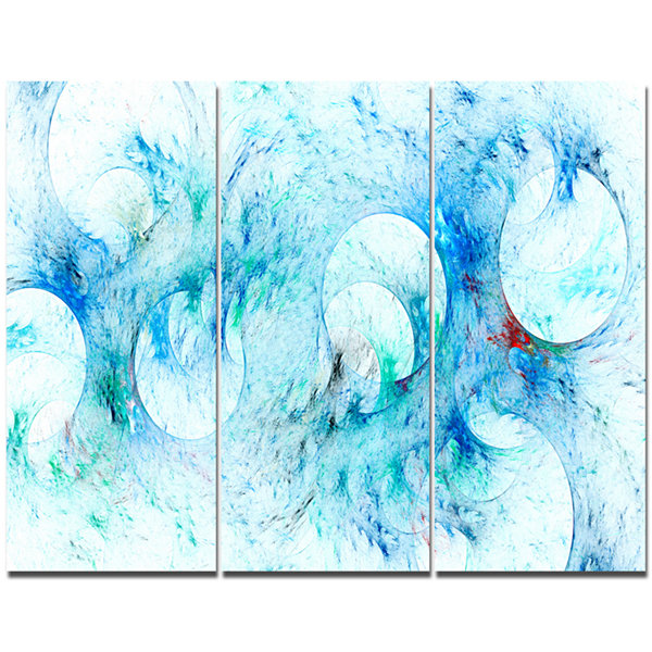 Design Art Blue White Fractal Glass Texture Abstract Canvas Art Print - 3 Panels