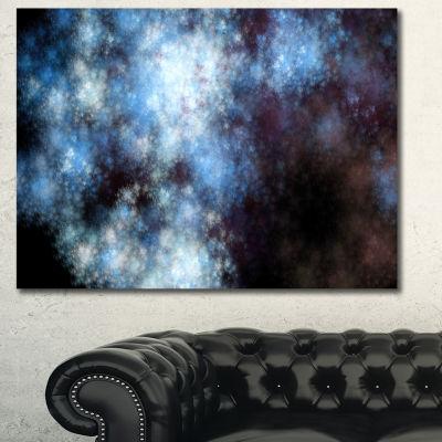 Design Art Blue White Starry Fractal Sky AbstractArt On Canvas - 3 Panels