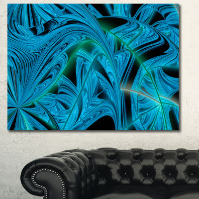 Designart Blue Winter Fractal Pattern Abstract ArtOn Canvas