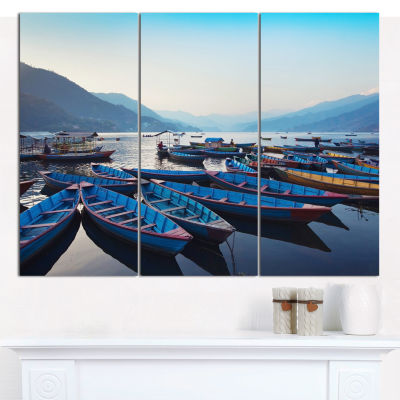 Design Art Blue Wooden Boats In Lake Boat Canvas Art Print - 3 Panels