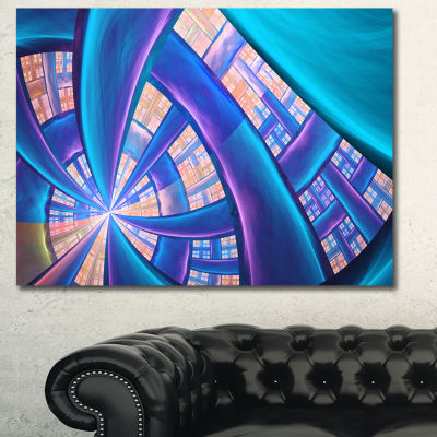 Designart Blue Yellow Fractal Stained Glass Abstract Canvas Art Print - 3 Panels