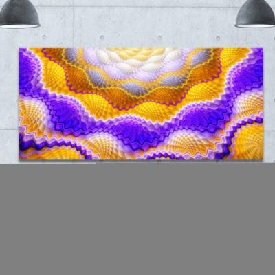 Designart Blue Yellow Snake Skin Flower Abstract Canvas Art Print