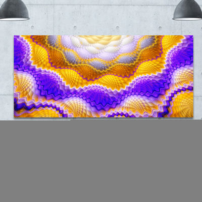 Designart Blue Yellow Snake Skin Flower AbstractCanvas Art Print - 3 Panels