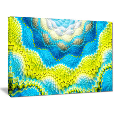 Designart Blue Yellow Spiral Snake Skin Floral Canvas Art Print