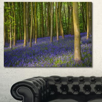 Designart Bluebell Woods In Oxfordshire LandscapeCanvas Art Print - 3 Panels